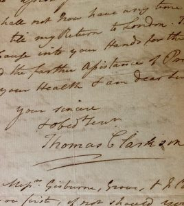 1791 Letter from Thomas Clarkson to Josiah Wedgwood re: petitioning England to abolish slavery (JHC Archives)