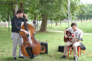 Alec Safy on acoustic bass and Tony Davis on guitar provided music for the reception